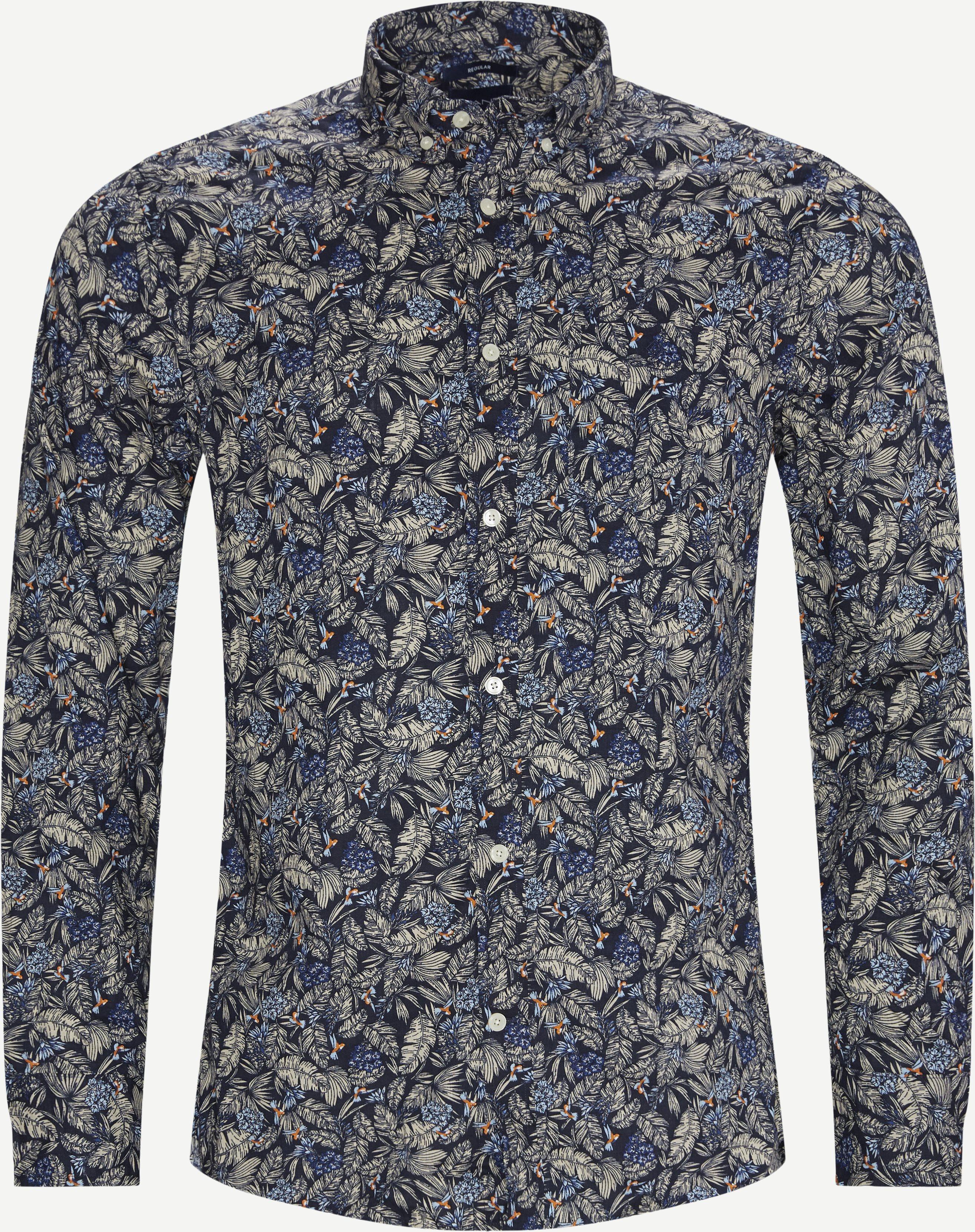 Reg Micro Garden Print Skjorte - Skjortor - Regular - Blå