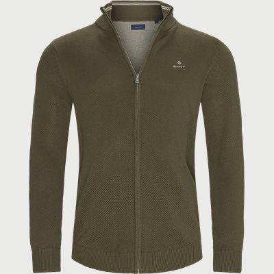 Pique Zip Cardigan Regular fit | Pique Zip Cardigan | Army