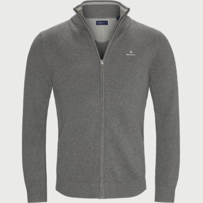 Pique Zip Cardigan Regular fit | Pique Zip Cardigan | Grå