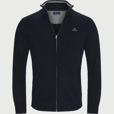 Pique Zip Cardigan Regular fit | Pique Zip Cardigan | Blå