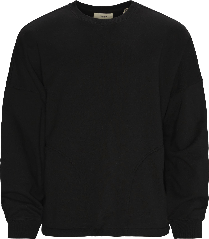 Oversized Sidepocket Crewneck  - Sweatshirts - Oversized - Svart