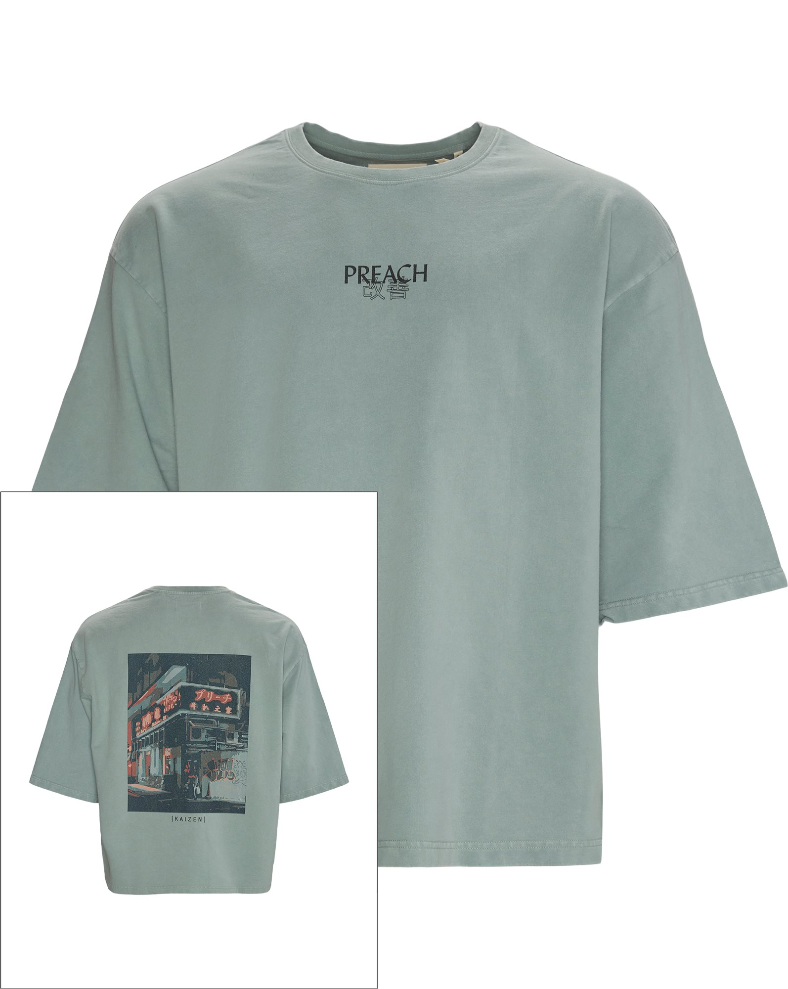 Kimono Street Corner Tee - T-shirts - Oversized - Grön