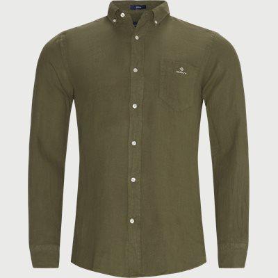 Garment Dyed Linen Skjorte Regular fit | Garment Dyed Linen Skjorte | Army