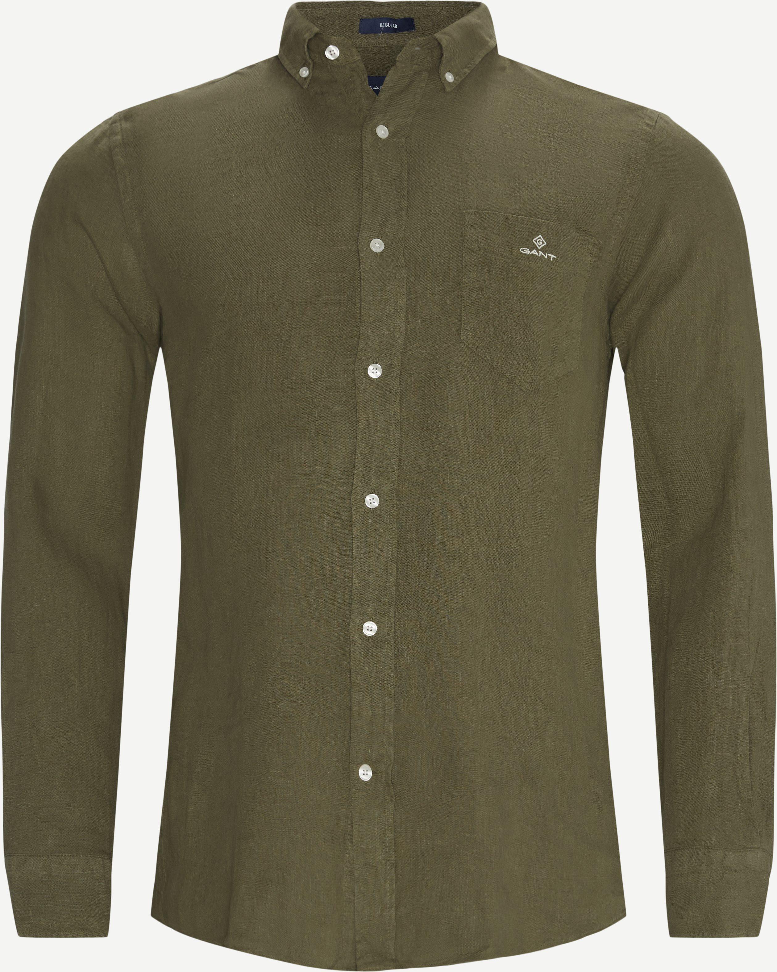 Garment Dyed Linen Skjorte - Skjorter - Regular - Army