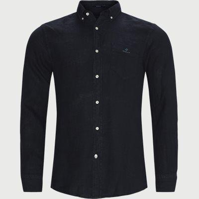 Garment Dyed Linen Skjorte Regular fit | Garment Dyed Linen Skjorte | Blå