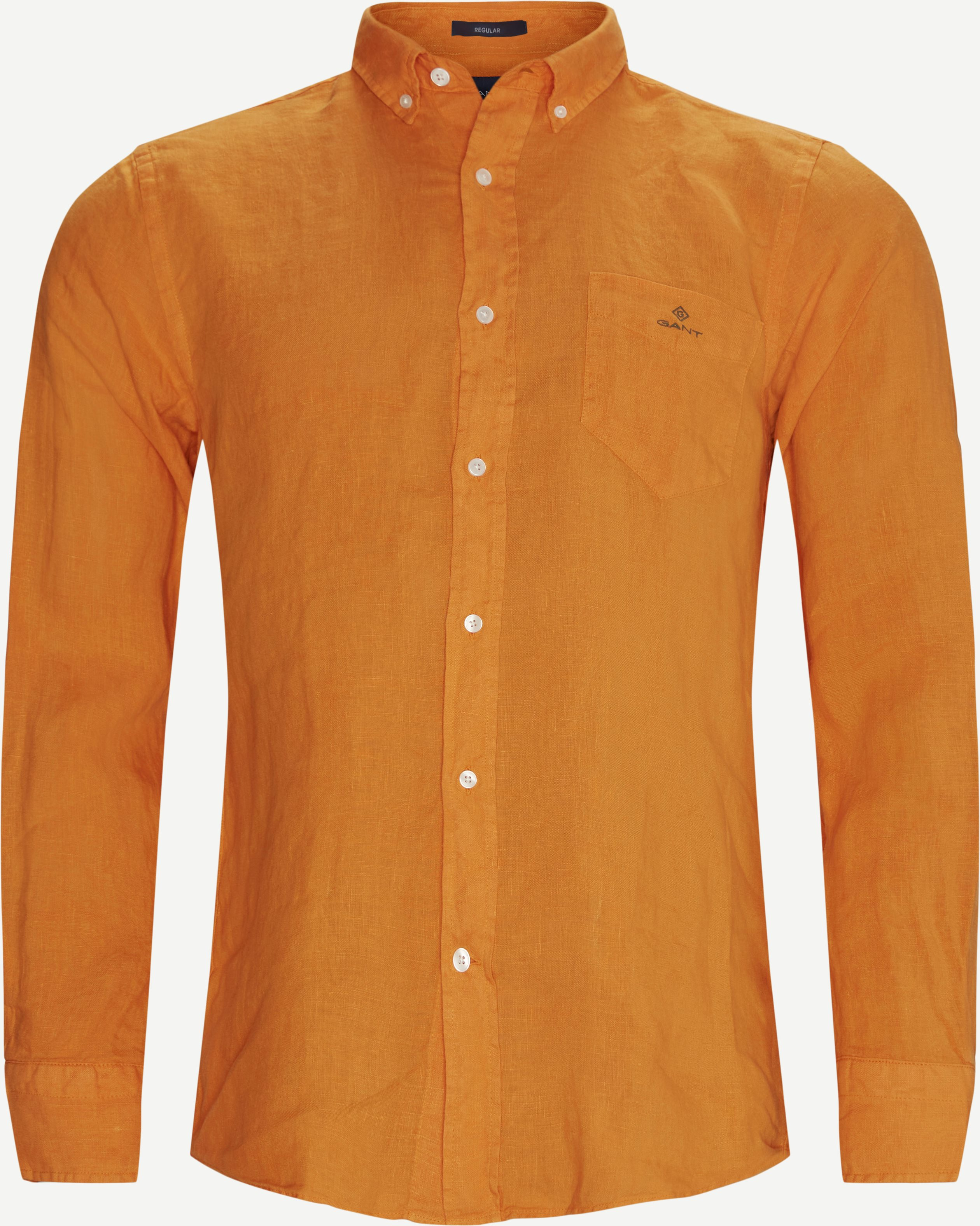 Garment Dyed Linen Skjorte - Skjorter - Regular - Orange