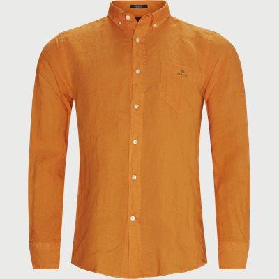 Garment Dyed Linen Skjorte Regular fit   Garment Dyed Linen Skjorte   Orange