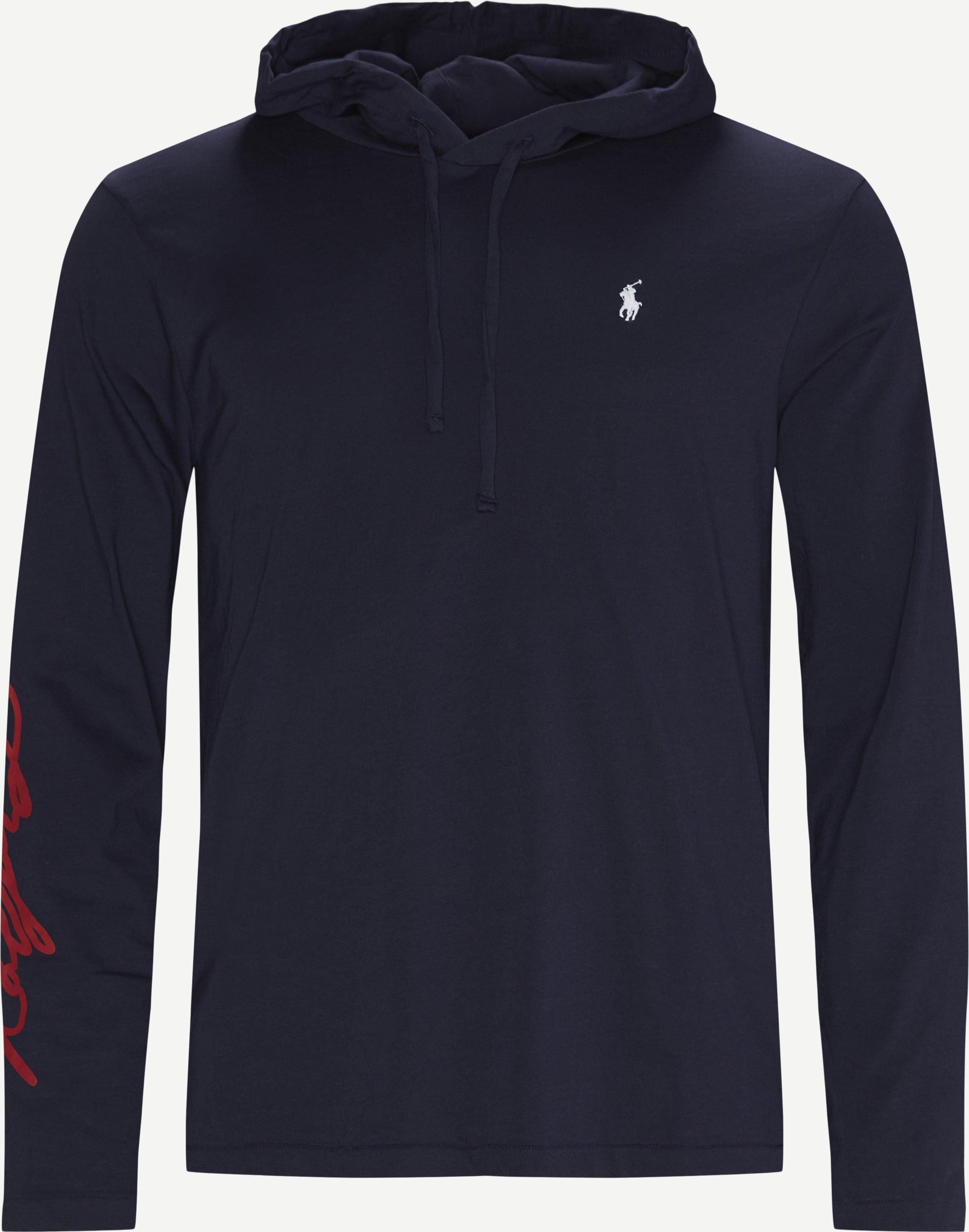 Hooded L/Æ T-shirt - T-shirts - Regular - Blue