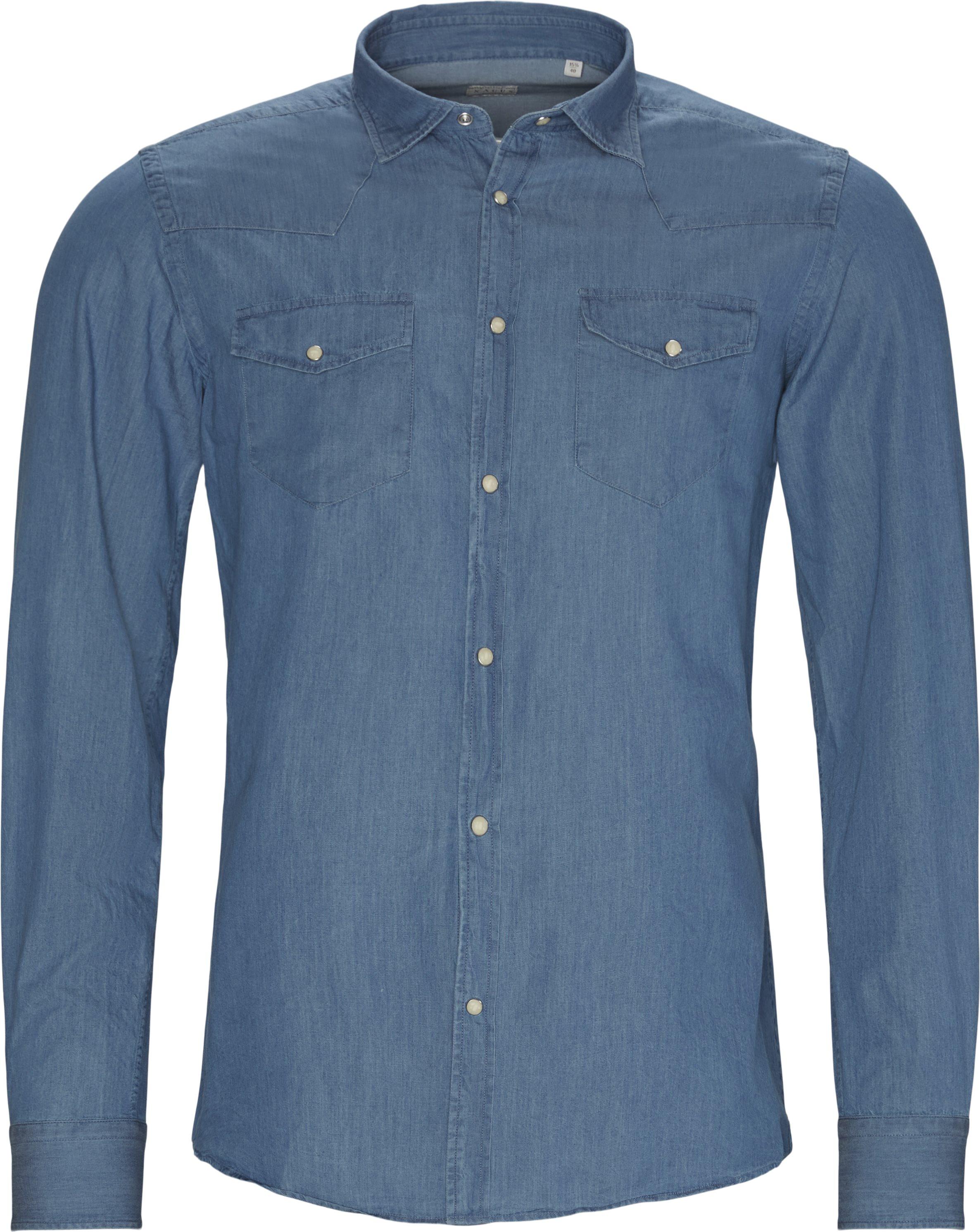 Denim Skjorte - Skjorter - Tailored fit - Blå