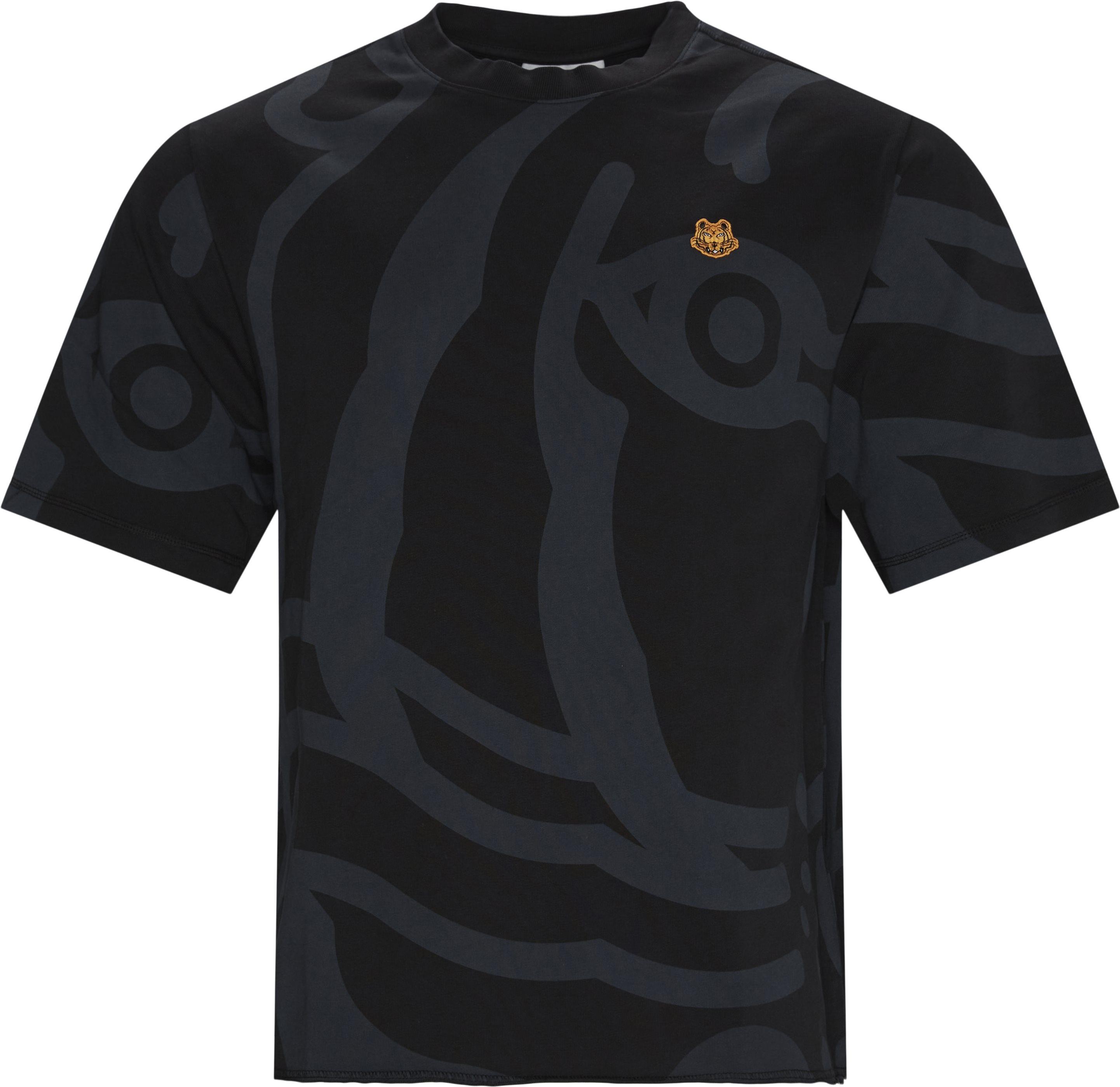 Print Tee - T-shirts - Oversize fit - Sort
