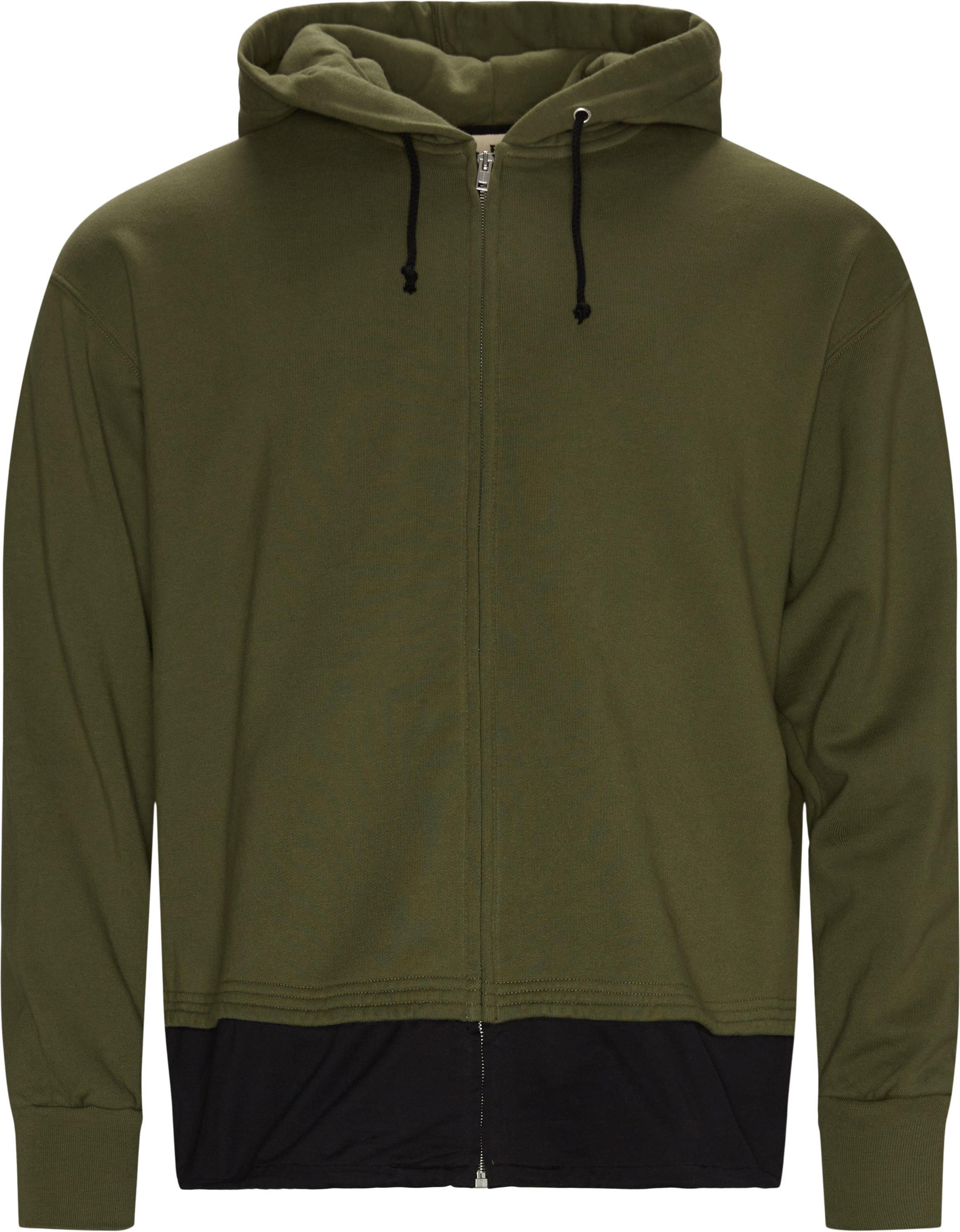 Logo Zip Hoodie - Sweatshirts - Loose fit - Army