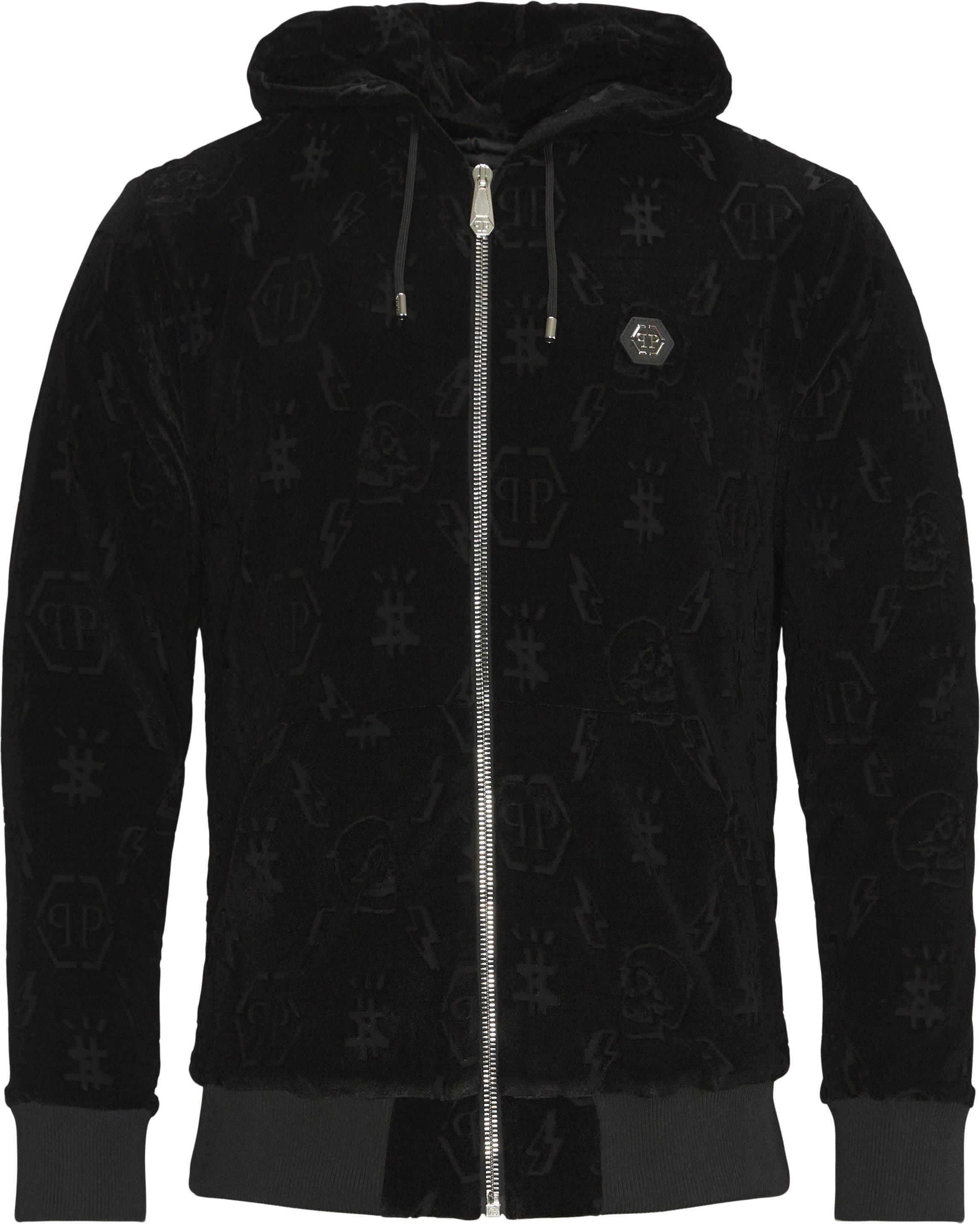 Hoodie Sweatjacket Monogram - Sweatshirts - Regular fit - Sort