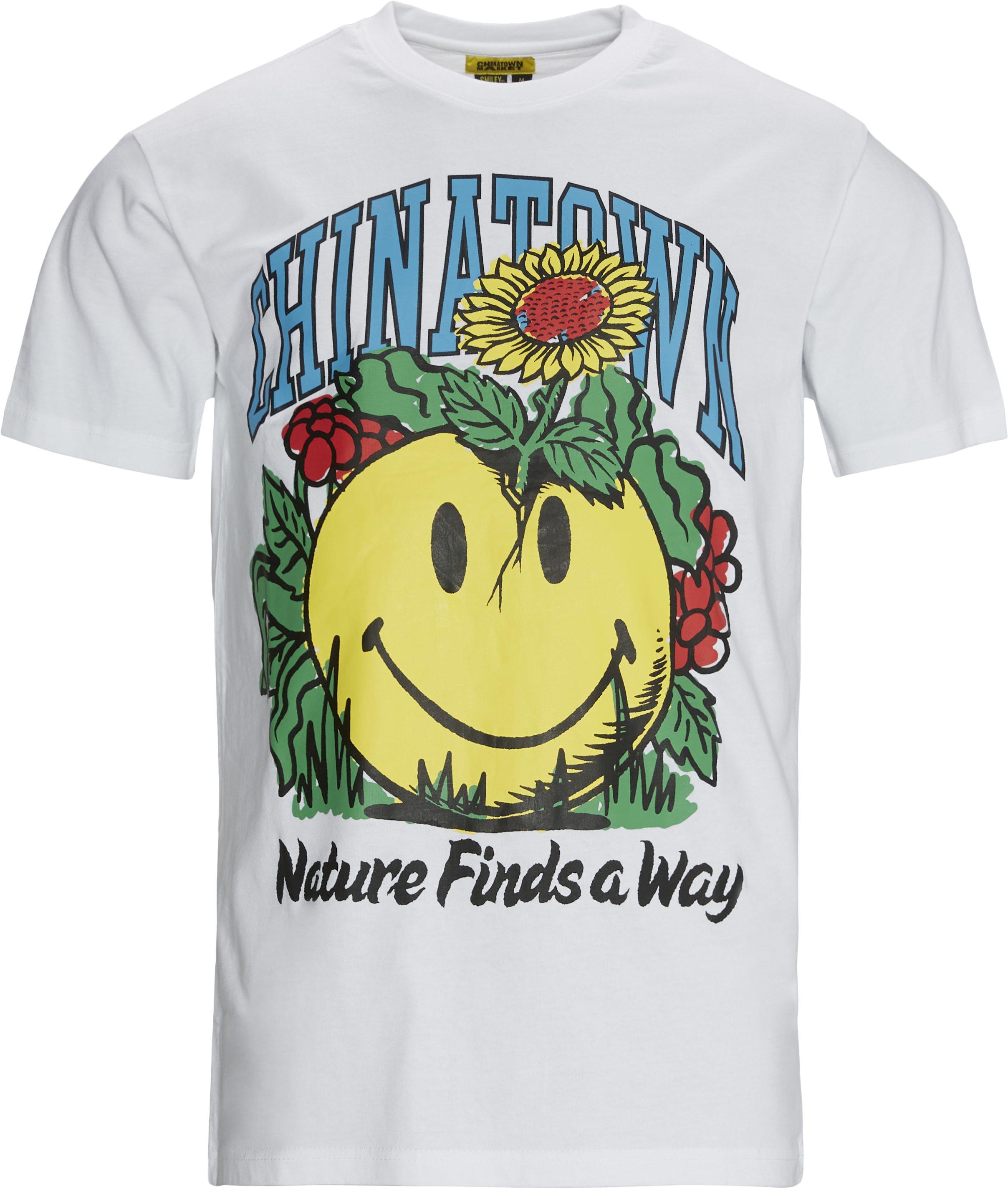 SMILEY PLANTER t-shirt - T-shirts - Regular fit - Hvid