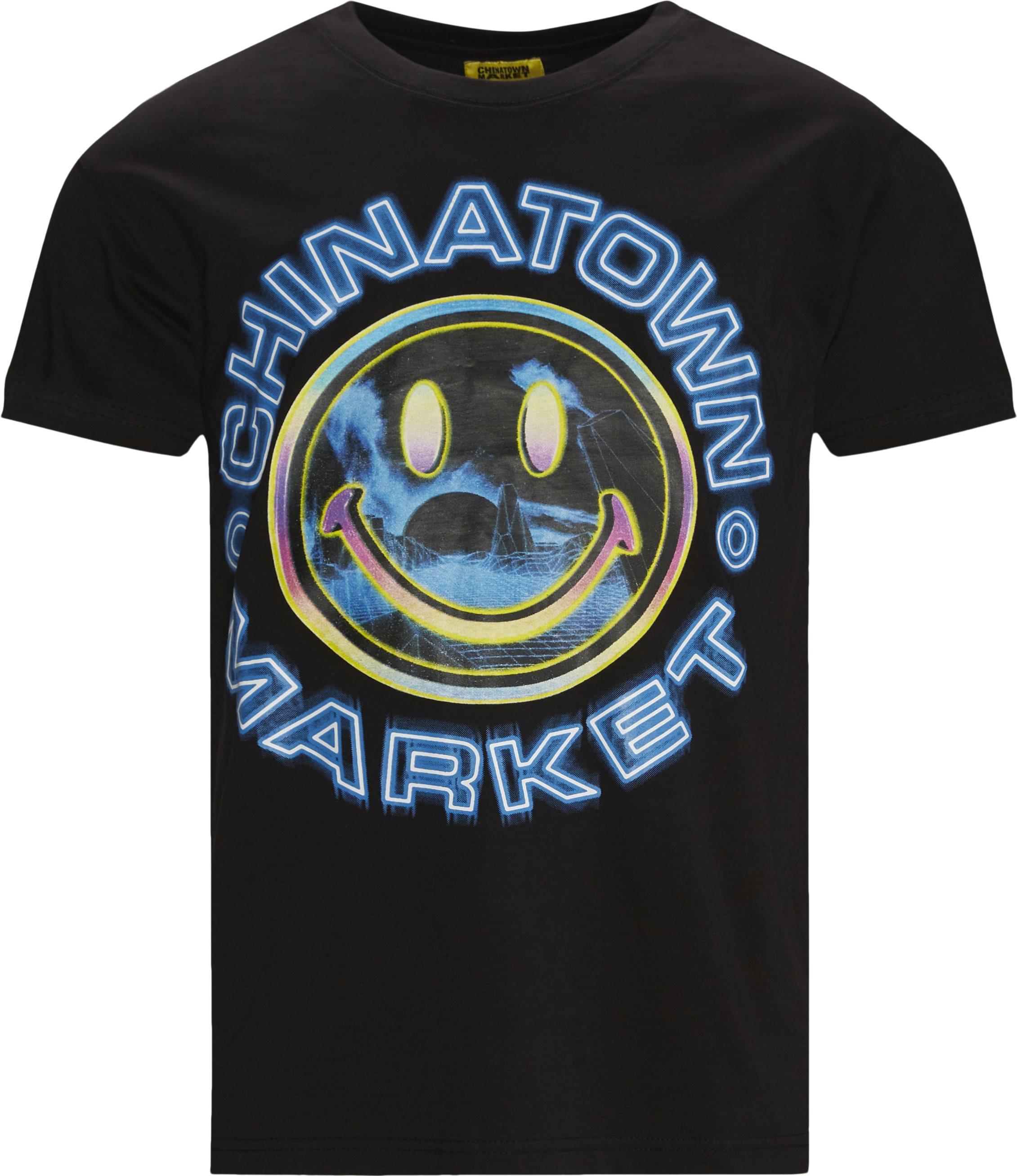 SMILEY VAPOR WAVE T-shirt - T-shirts - Regular fit - Sort