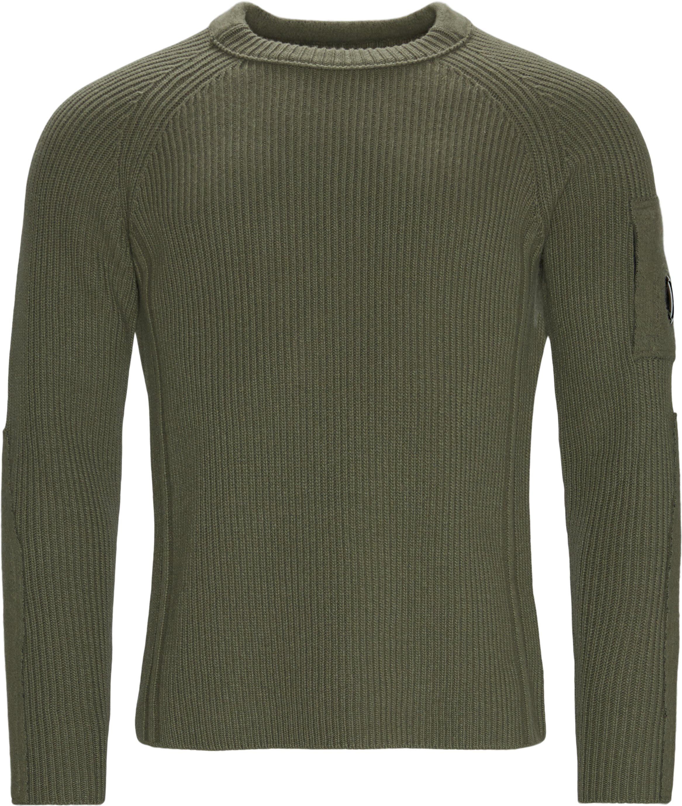 Knitted Sweatshirt - Strik - Regular fit - Army