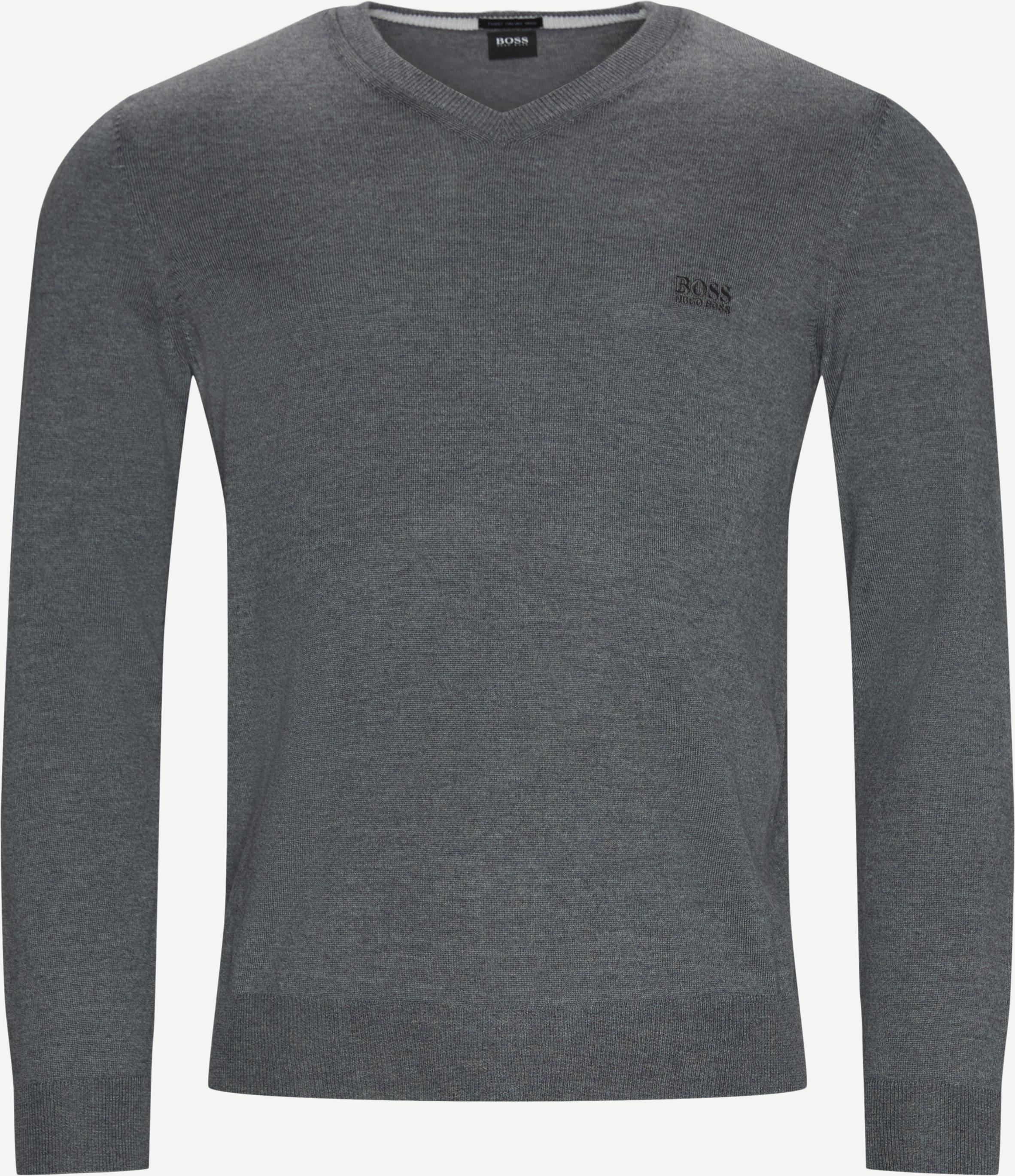 Baram-L V-Neck Strik - Strik - Regular fit - Grå