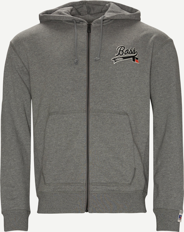 BOSS x Russel Zip Hooded Sweatshirt - Sweatshirts - Regular fit - Grå